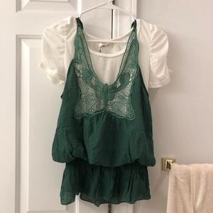 2 piece shirt and lace top